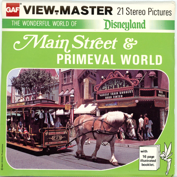 Main Street -Primeval World- Disney  - A175 -  Vintage Classic View-Master 3 Reel Packet - 1970s views