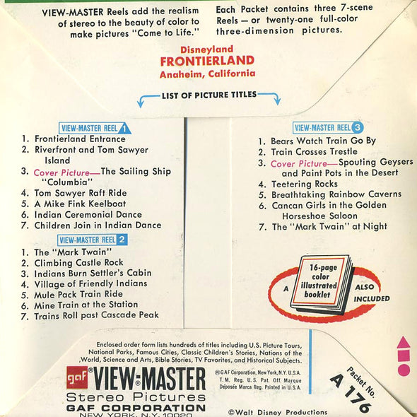 ViewMaster  - Frontierland - Disneyland - A176 - Vintage - 3 Reel Packet - 1970s Views