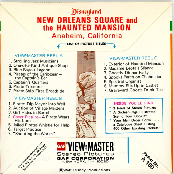 View-Master New Orleans Square - Haunted Mansion - Disneyland - A180 - Vintage 3 Reel Packet - 1970s views