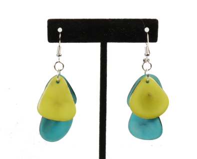 Tagua Triple Tear Dangle Drop La Quita Earrings - YELLOW and  TURQUOISE