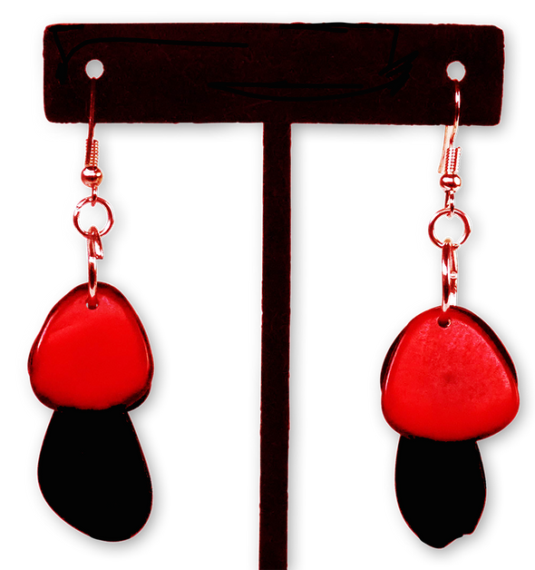 Tagua Triple Tear Dangle Drop La Quita Earrings - BLACK, RED