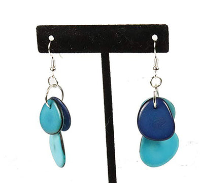Tagua Triple Tear Dangle Drop La Quita Earrings - BLUE, TURQUOISE