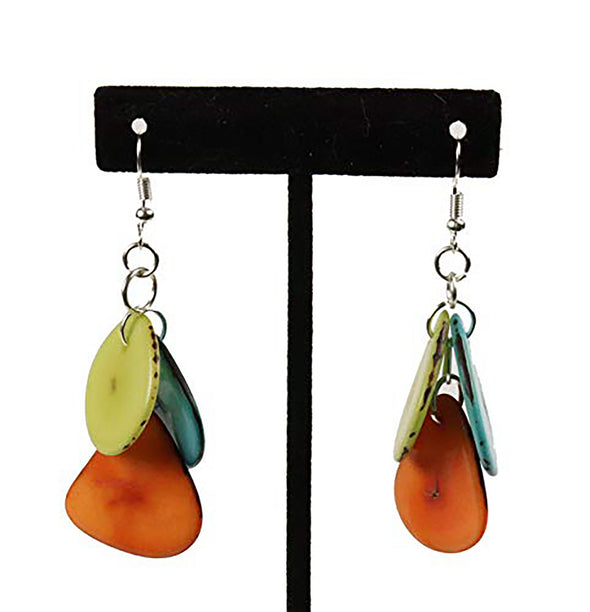 Tagua Triple Tear Dangle Drop La Quita Earrings - BLUE, YELLOW, ORANGE