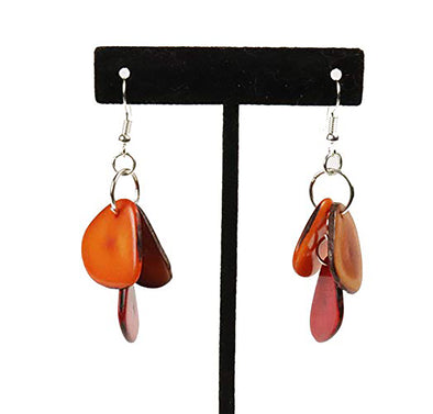 Tagua Triple Tear Dangle Drop La Quita Earrings - ORANGE, BROWN, RED