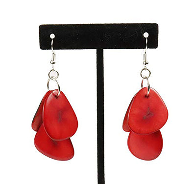 Tagua Triple Tear Dangle Drop La Quita Earrings - RED