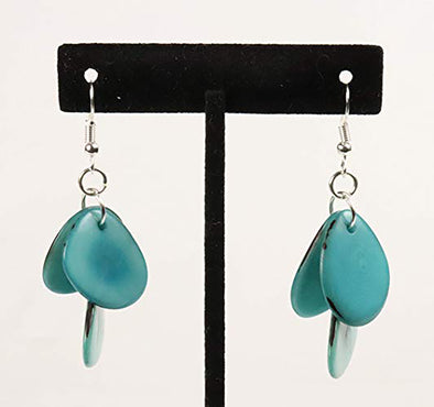 Tagua Triple Tear Dangle Drop La Quita Earrings - TURQUOISE