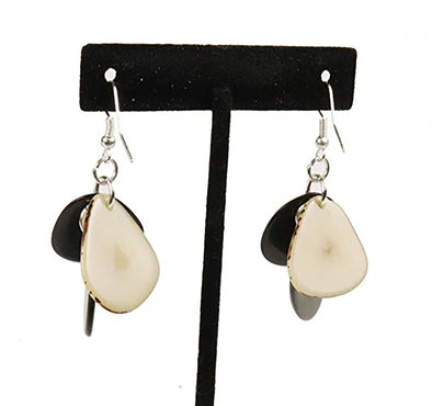 Tagua Triple Tear Dangle Drop La Quita Earrings - WHITE, GREY, BLACK