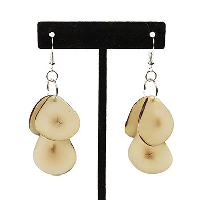 Tagua Triple Tear Dangle Drop La Quita Earrings - WHITE