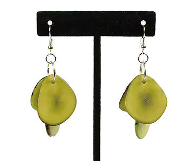 Tagua Triple Tear Dangle Drop La Quita Earrings - LEMON LIME
