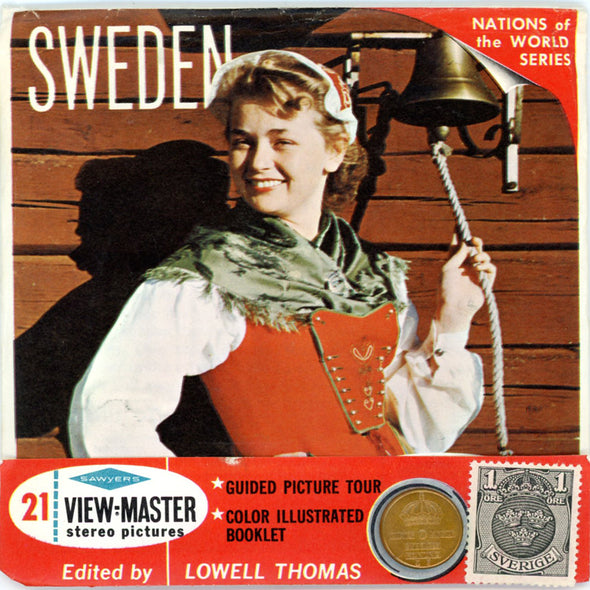 Sweden - Coin & Stamp - Nations of the World - B151 - Vintage View-Master 3 Reel Packet - 1960s views