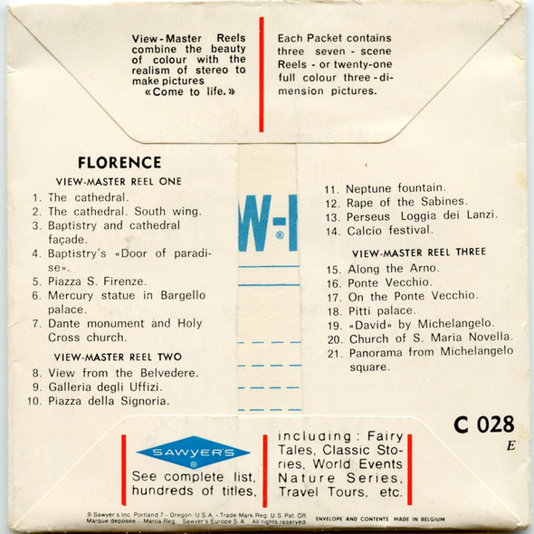 ViewMaster - Florence (Italy) - C028 - Vintage - 3 Reel Packet - 1960s views