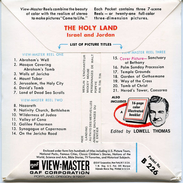 ViewMaster - The Holy Land  - B226 - Vintage 3 Reel Packet - 1960s Views