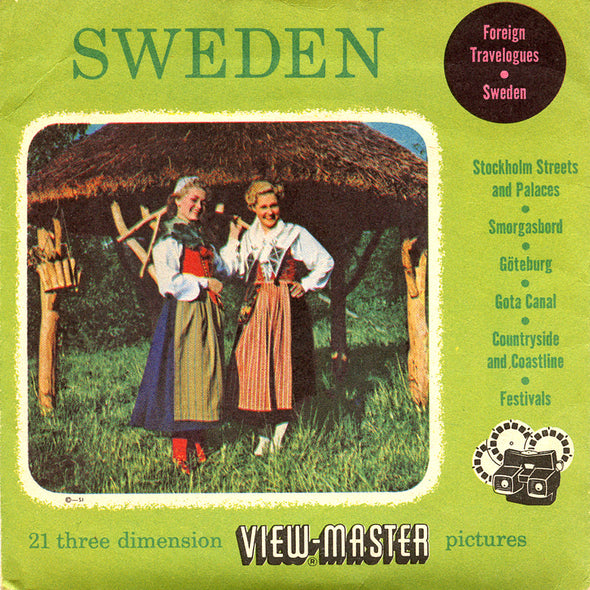 Sweden - Europe - Foreign Travelogues Series - Vintage Classic View-Master - 3 Reel Packet - 1950s views