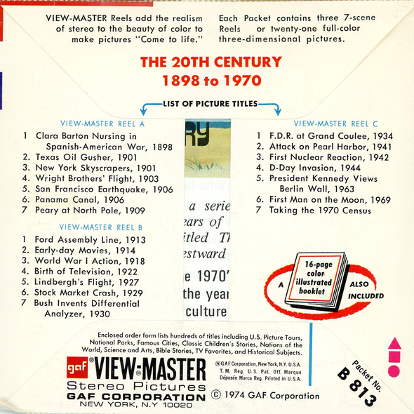 The 20th Century - American's Bicentennial Celebration - B813 - Vintage Classic View-Master 3 Reel Packet 1970s Views