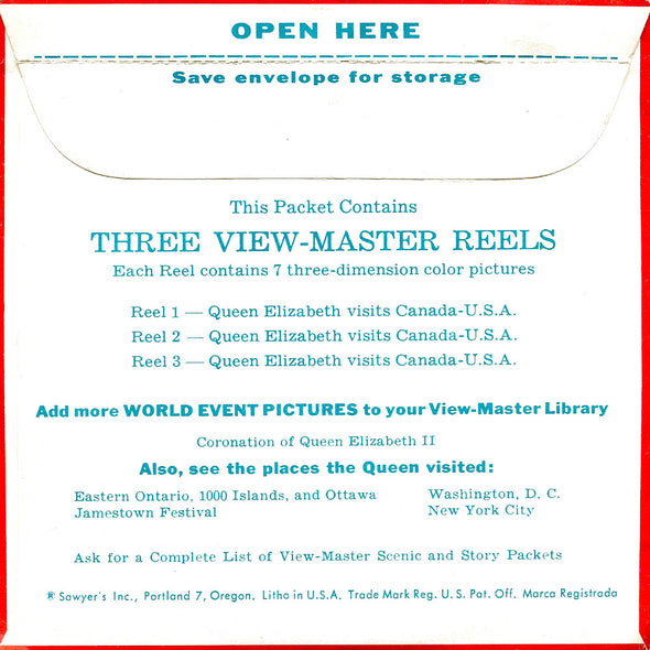 Queen Elizabeth - Visits Canada U.S.A - B925 - Vintage Classic View-Master 3 Reel Packet - 1950s Views