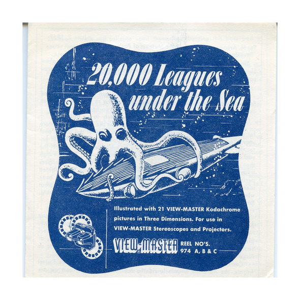 ViewMaster 20,000 Leagues Under The Sea - B370 - Vintage Classic - 3 Reel Packet - 1960s