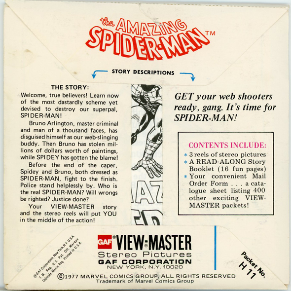 The Amazing Spider-Man - H11 - Vintage Classic View-Master - 3 Reel Packet -1970s Views