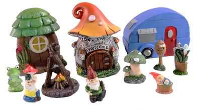 Miniature Fairy Garden - CAMPERVILLE Community- 11 piece Set