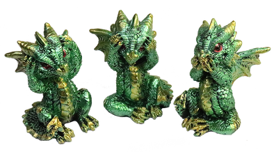 miniature green luminescent dragons