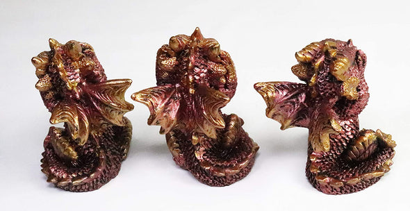 Mythical 3 Rose Gold Luminescent Baby Dragons - See No Evil, Hear No Evil, Speak No Evil -