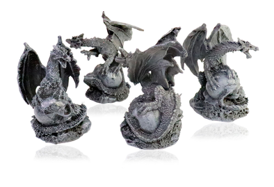 "Mythical 4 Charcoal Grey Dragons Hover Over Skulls - Approximately 3-1/2"" Tall - Fantastic Detail"