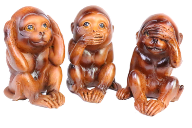 see, hear, speak no evil monkey figurine
