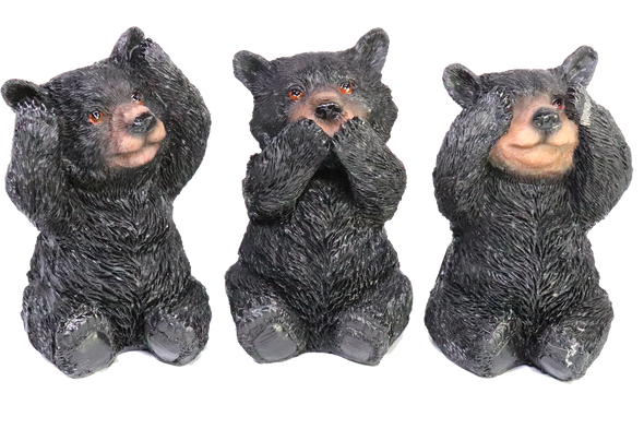 see, hear, speak no evil bears figurine