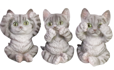 see, hear, speak no evil grey kittens figurine