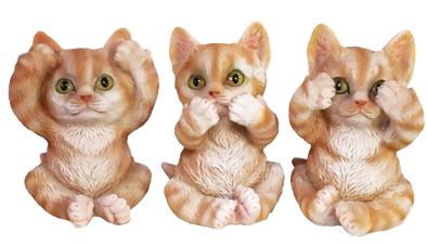 see, hear, speak no evil yellow kittens figurine