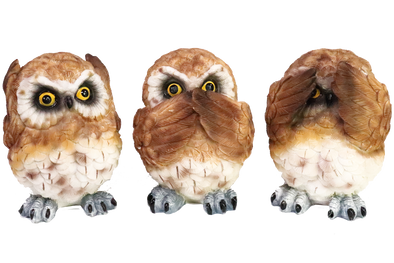 see, hear, speak no evil owls figurine