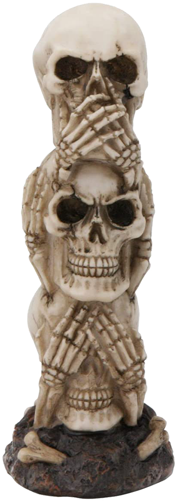 figurine stacked skulls hear, see, hear no evil