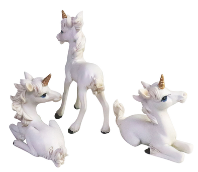 Pony Unicorns - Set of 3 (Standing and Sitting)  Figurines - Beautiful Detail