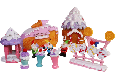 miniature village candy ice cream