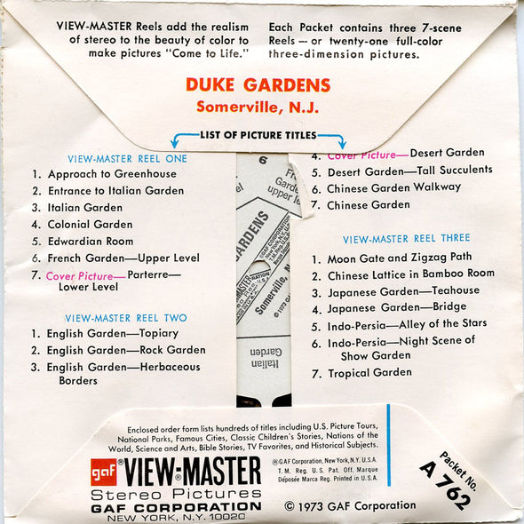 Duke Gardens - A762 - Vintage Classic View-Master - 3 Reel Packet - 1970s Views
