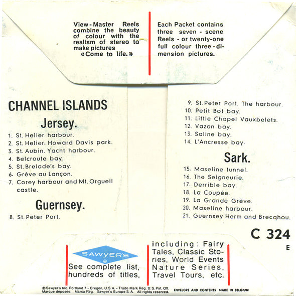 ViewMaster - Channel Islands  - C324E - Vintage Classic  - 3 Reel Packet - 1960s Views