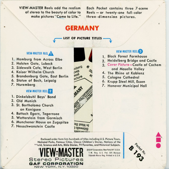 Germany - B193 - Vintage Classic View-Master - 3  Reel Packet - 1980s Views