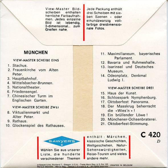 Munchen - C420D  - Vintage Classic View-Master -  3 Reel Packet - 1960s Views