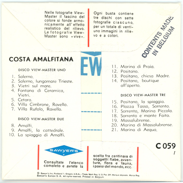View-Master - Costa Amalfitana - C059i - Vintage - 3 Reel Packet - 1960s views