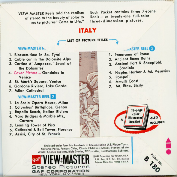 Italy - B180 - Vintage Classic View-Master - 3 Reel Packet - 1970s Views