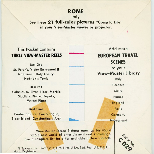 Rome - C029- Vintage Classic Views-Master - 3 Reel Packet 1960s Views