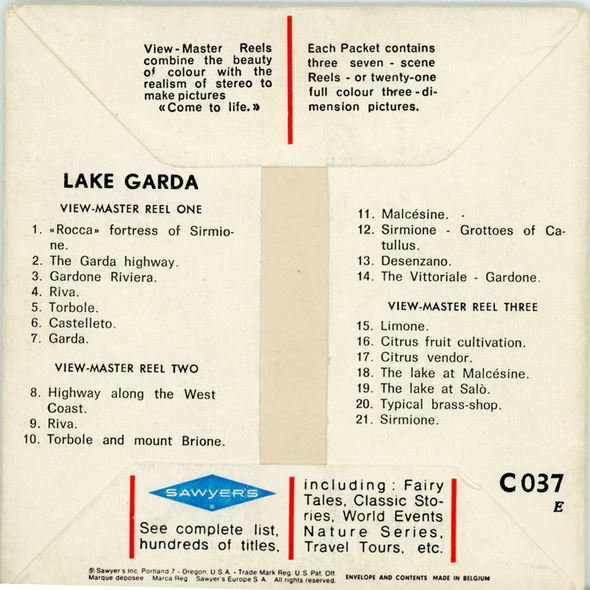 Lake Garda -  C037 - Vintage Classic View-Master - 3 Reel Packet - 1960s Views