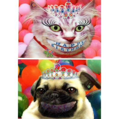 Happy Birthday Smiling Cat & Dog - 2 Humorous Postcards 3D Lenticular