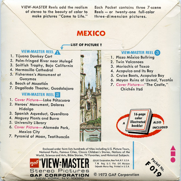 ViewMaster - Mexico - F019 - Vintage - 3 Reel Packet - 1970s views
