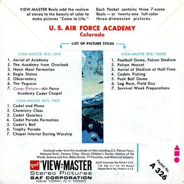 ViewMaster - U.S Air Force Academy-Colorado- A326- Vintage - 3 Reel Packet - 1970s views