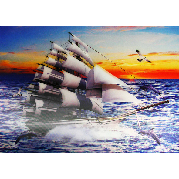 Clipper Ship with a beautiful Sunset   - 3D Lenticular Poster - 12x16 Print