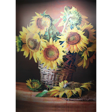 SUNFLOWERS in a wicker Basket - 3D Lenticular Poster - 12x16 Print