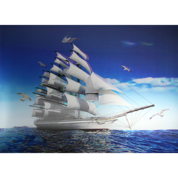 Clipper Ship with flying Seagulls - 3D Lenticular Poster - 12x16 Print