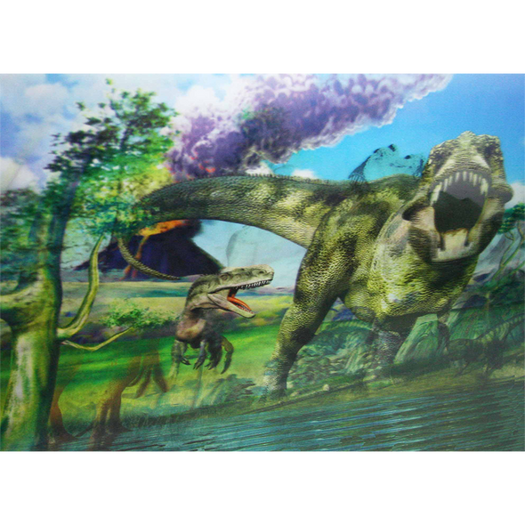 Dinosaurs - Prehistoric -  Triple Views - 3D Action Lenticular Poster - 12x16 - 3 Prints in 1