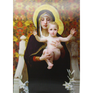 Virgin of Lilies & Child Bouguereau - Christian - 3D Lenticular Poster - 12x16 Print