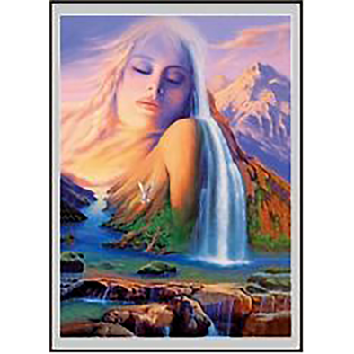 SPIRITUAL, Women, Waterfall, Mountains - 3D Lenticular Poster - 12 x 16